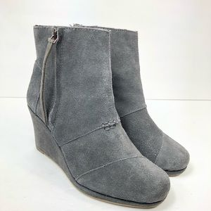 Toms Suede Leather Desert Wedge Ankle Boots Bootie